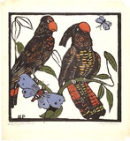 Artist: PRESTON, Margaret | Title: Black cockatoos | Date: 1925 | Technique: woodcut, printed in black ink, from one block; hand-coloured | Copyright: © Margaret Preston. Licensed by VISCOPY, Australia