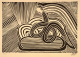 Artist: GREEN, Eddie | Title: Rainbow serpent | Date: 1995, August | Technique: linocut, printed in black ink, from one block