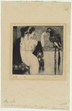 Artist: LINDSAY, Norman | Title: Lady and the parrot. | Date: 1917 | Technique: etching, and softground-etching, printed in dark blue black ink, from one plate
