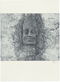 Title: Face above the west gate of Angkor Thom | Date: 1999 | Technique: etching and aquatint, printed in blue/black ink, from one plate