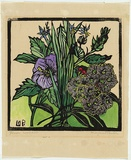 Artist: PRESTON, Margaret | Title: Native hibiscus and gum flowers | Date: 1936 | Technique: woodcut, printed in black ink, from one block; hand-coloured | Copyright: © Margaret Preston. Licensed by VISCOPY, Australia