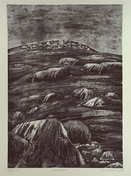 Artist: DUXBURY, Lesley | Title: Lancefield I | Date: 1989 | Technique: softground etching and aquatint, printed in black ink, from one plate