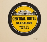 Artist: BURDETT, Frank | Title: Label: Central Hotel, Bangalore, South India. | Date: 1928 | Technique: lithograph, printed in colour, from multiple stones [or plates]