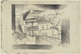 Artist: JACK, Kenneth | Title: Agar Steps, Millers Point, Sydney | Date: 1953, March 24 | Technique: lithograph, printed in black ink, from one zinc plate | Copyright: © Kenneth Jack. Licensed by VISCOPY, Australia