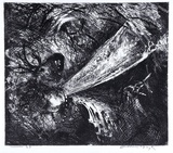 Artist: BOYD, Arthur | Title: Falling figure with beast's head. | Date: (1962-63) | Technique: etching and aquatint, printed in black ink, from one plate | Copyright: Reproduced with permission of Bundanon Trust