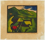 Artist: BROWN, Geoffrey | Title: Highbury landscape. | Date: 1954 | Technique: linocut, printed in colour, from mutliple blocks