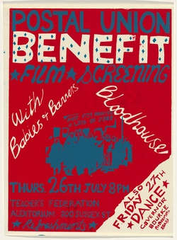 Artist: UNKNOWN | Title: Postal Union benefit. Film screenings: With Babies 7 Banners, Bloodhouse. | Date: 1979 | Technique: screenprint, printed in colour, from two stencils