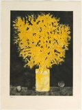 Artist: GRIFFITH, Pamela | Title: First of August, Wattle Day | Date: 1980 | Technique: etching, soft ground, sugar lift, aquatint, burnishing printed in colour from two zinc plates | Copyright: © Pamela Griffith