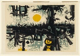 Artist: SALKAUSKAS, Henry | Title: Behind is always the Sun | Date: 1962 | Technique: linocut, printed in colour, from three blocks | Copyright: © Eva Kubbos