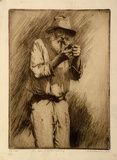 Artist: FRIEDENSEN, Thomas | Title: The man from Burrywang. | Date: 1925 | Technique: etching and drypoint, printed in black ink, from one plate