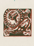 Artist: MEYER, Bill | Title: Abortion logo for Bea Faust | Date: 1964 | Technique: linocut, printed in two colours, from reduction block process | Copyright: © Bill Meyer