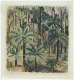 Artist: PRESTON, Margaret | Title: Ferntree gully | Date: 1946 | Technique: monotype, printed in colour, from one masonite sheet | Copyright: © Margaret Preston. Licensed by VISCOPY, Australia