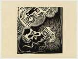 Artist: WORSTEAD, Paul | Title: Face. | Date: 1971 | Technique: linocut, printed in black ink, from one block | Copyright: This work appears on screen courtesy of the artist