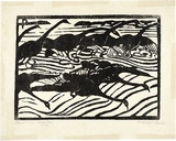 Artist: PRESTON, Margaret | Title: Black swans, Wallis Lake, N.S.W. | Date: 1923 | Technique: woodcut, printed in black ink, from one block | Copyright: © Margaret Preston. Licensed by VISCOPY, Australia