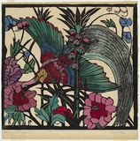 Artist: PRESTON, Margaret | Title: Bird of Paradise. | Date: 1925 | Technique: woodcut, printed in black ink, from one block; hand-coloured | Copyright: © Margaret Preston. Licensed by VISCOPY, Australia
