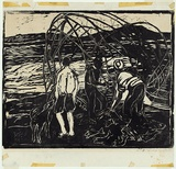 Artist: PRESTON, Margaret | Title: Casting the net | Date: 1957 | Technique: woodcut, printed in black ink, from one block | Copyright: © Margaret Preston. Licensed by VISCOPY, Australia