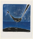 Artist: RATAS, Vaclovas | Title: Lagoon bird | Date: 1965 | Technique: woodcut, printed in colour, from two blocks in blue and black inks