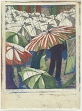 Artist: SPOWERS, Ethel | Title: Wet afternoon. | Date: 1929-30 | Technique: linocut, printed in colour, from four blocks (grey, cobalt blue, reddish brown, emerald green)