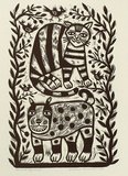 Artist: HANRAHAN, Barbara | Title: Cat and dog. | Date: 1989 | Technique: linocut, printed in black ink, from one block