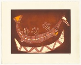 Artist: NADJAMARREK, Lofty Bardayal | Title: Rainbow Serpent | Date: c.1999 | Technique: etching, printed in colour from multiple plates