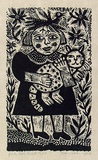 Artist: HANRAHAN, Barbara | Title: Girl, cat, bird | Date: 1989 | Technique: wood-engraving, printed in black ink, from one block