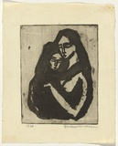Artist: HANRAHAN, Barbara | Title: Mother and child | Date: 1960, July | Technique: aquatint, printed in black ink, from one plate