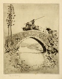 Artist: LINDSAY, Lionel | Title: Bulls on the bridge, Andalucia, Spain | Date: 1920 | Technique: etching, printed in black ink with plate-tone, from one plate | Copyright: Courtesy of the National Library of Australia