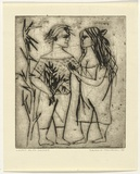 Artist: HANRAHAN, Barbara | Title: Lovers on the seashore | Date: 1961 | Technique: drypoint, printed in black ink, from one plate