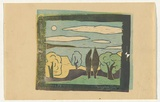 Artist: WATSON, Percy | Title: (Landscape) | Date: 1953 | Technique: linocut, printed in colour, from multiple blocks