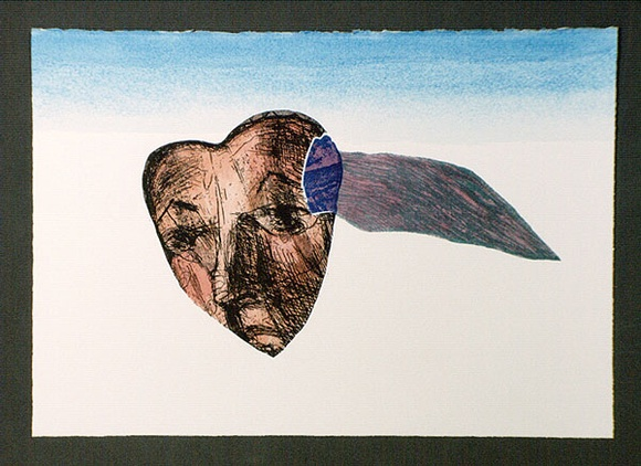Artist: OPPEN, Monica | Title: (Face in heart). | Date: 1992 | Technique: etching, photo-etching and roulette printed in colour with watercolour