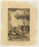 Artist: CRISP, James | Title: Farm corner. | Date: 1923 | Technique: etching, printed in warm black ink with plate-tone, from one plate