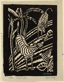 Artist: CRAIG, Sybil | Title: Zebras. | Date: 1936 | Technique: linocut, printed in black ink, from one block