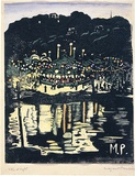 Artist: PRESTON, Margaret | Title: Red Cross Fete, Mosman. | Date: 1920 | Technique: woodcut, printed in black ink, from one block; hand-coloured | Copyright: © Margaret Preston. Licensed by VISCOPY, Australia