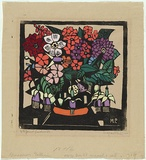 Artist: PRESTON, Margaret | Title: Fuchsia | Date: 1928 | Technique: woodcut, printed in black ink, from one block; hand-coloured | Copyright: © Margaret Preston. Licensed by VISCOPY, Australia