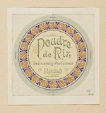 Artist: BURDETT, Frank | Title: Label: Poudre de Riz perfume. | Date: 1918 | Technique: lithograph, printed in colour, from multiple stones [or plates]