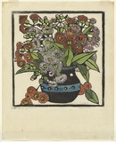 Artist: PRESTON, Margaret | Title: Gum blossoms | Date: 1928 | Technique: woodcut, printed in black ink, from one block; hand-coloured | Copyright: © Margaret Preston. Licensed by VISCOPY, Australia