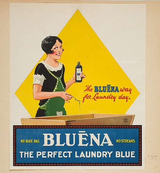 Artist: BURDETT, Frank | Title: Label: Bluena, the perfect laundry bag. | Date: 1927 | Technique: lithograph, printed in colour, from multiple stones [or plates]
