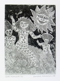Artist: HANRAHAN, Barbara | Title: Little mermaids | Date: 1991 | Technique: drypoint and etching, printed in black, with plate-tone from one plate