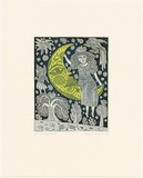 Artist: HANRAHAN, Barbara | Title: Girl and the moon | Date: 1990 | Technique: etching, printed in green with plate-tone from one plate