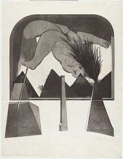 Artist: BALDESSIN, George | Title: Personage and window II. | Date: 1972 | Technique: etching and aquatint, printed in black ink, from four shaped plates.