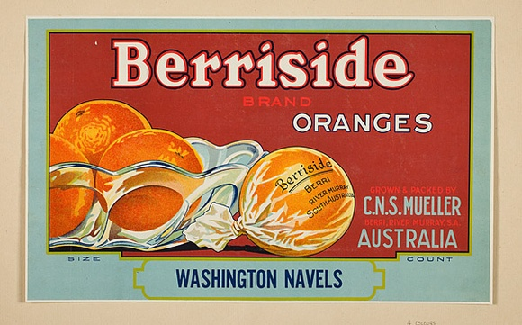 Artist: BURDETT, Frank | Title: Label: Berriside oranges. | Date: 1931 | Technique: lithograph, printed in colour, from multiple stones [or plates]