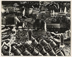 Title: not titled [collage composition, religious motifs at centre and lower right] | Date: c.1993 | Technique: cliché-verre, printed in black, from hand-drawn negative