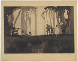 Artist: LONG, Sydney | Title: Pan | Date: 1919 | Technique: line-etching and aquatint, printed in black ink, from one copper plate | Copyright: Reproduced with the kind permission of the Ophthalmic Research Institute of Australia