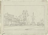 Artist: JACK, Kenneth | Title: Charing Cross, Bendigo | Date: 1954 | Technique: lithograph, printed in black ink, from one zinc plate | Copyright: © Kenneth Jack. Licensed by VISCOPY, Australia