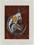 Artist: JENUARRIE, | Title: X-ray style kangaroo | Date: 1989 | Technique: linocut, printed in colour, from multiple blocks
