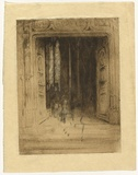 Artist: TRAILL, Jessie | Title: Le portail, St. Maclou [the portal, St. Maclou] | Date: 1927 | Technique: etching and drypoint, printed in black ink with plate-tone, from one plate; charcoal additions