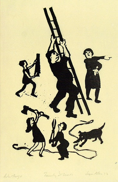 Artist: ALLEN, Joyce | Title: Family at work. | Date: 1973 | Technique: linocut, printed in black ink, from one block