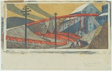 Artist: SPOWERS, Ethel | Title: The works, Yallourn. | Date: 1933 | Technique: linocut, printed in colour, from seven blocks
