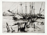 Artist: GLOVER, Allan | Title: Sunlight and ships | Date: 1928 | Technique: etching, printed in brown ink, from one plate