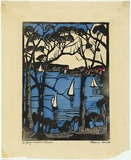 Artist: PRESTON, Margaret | Title: Sydney Heads [2]. | Date: 1925 | Technique: woodcut, printed in black ink, from one block; hand-coloured | Copyright: © Margaret Preston. Licensed by VISCOPY, Australia